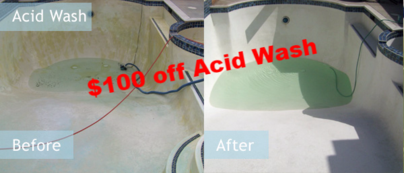 $100 off Professional Acid Wash. Includes Drain and Chemical Start up. *Basic Play Pool*