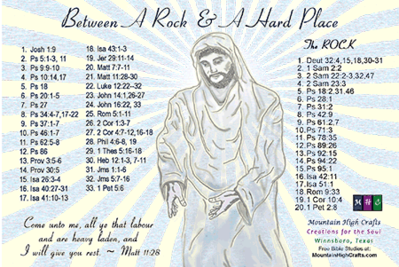 Between A Rock & A Hard Place Greeting Card, back with Bible Study