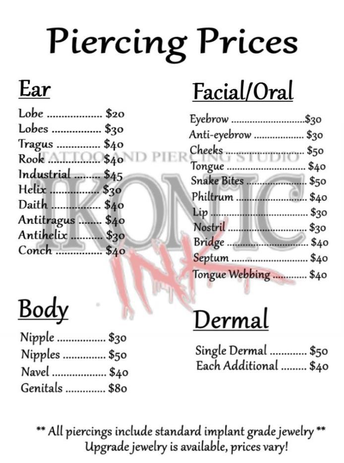 Ikonic ink Indiana - Body Piercing, List of Piercings ... Ear Piercings Names