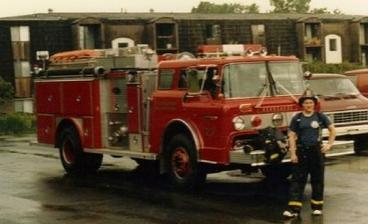 Laird Cole in Firefighter bunker gear with Kearsarge Fire Department Engine 23