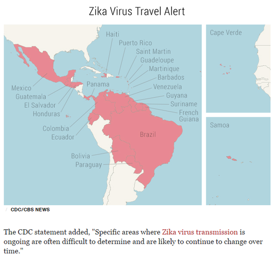 Zika travel alert map