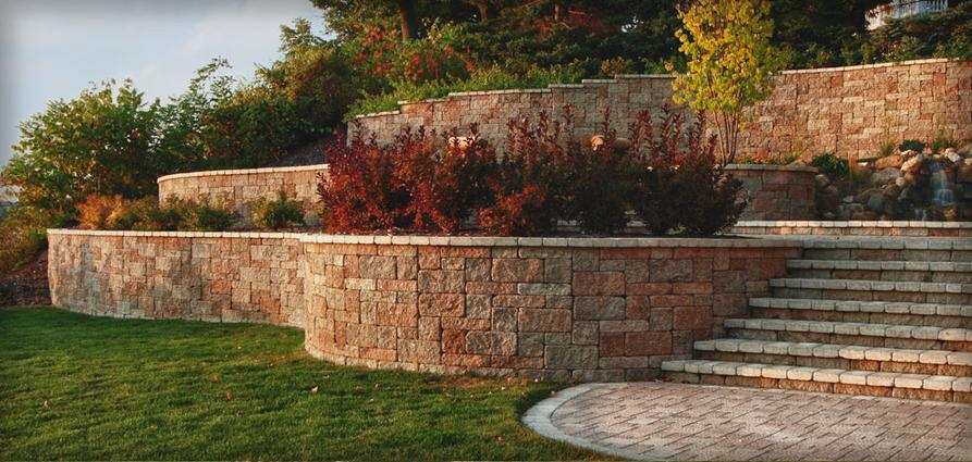 retaining wall with garden wall pavers and steps in atlanta georgia