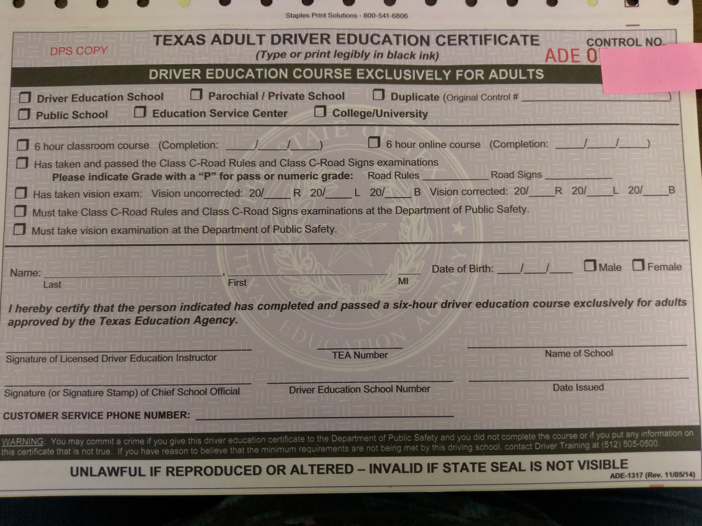 Dps test texas adult 6 hour certificate 1betcityfo Choice Image