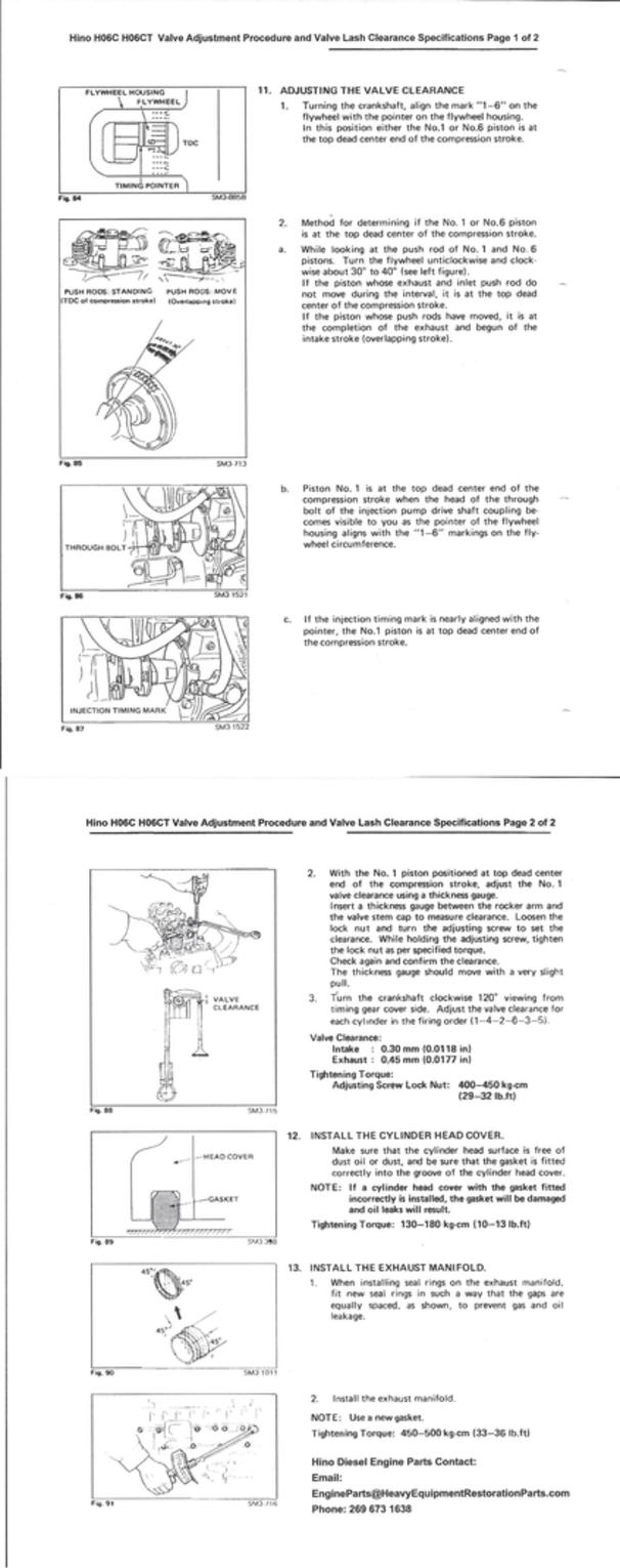 Hino Engine Parts - Hino H06C H06CT, Specifications