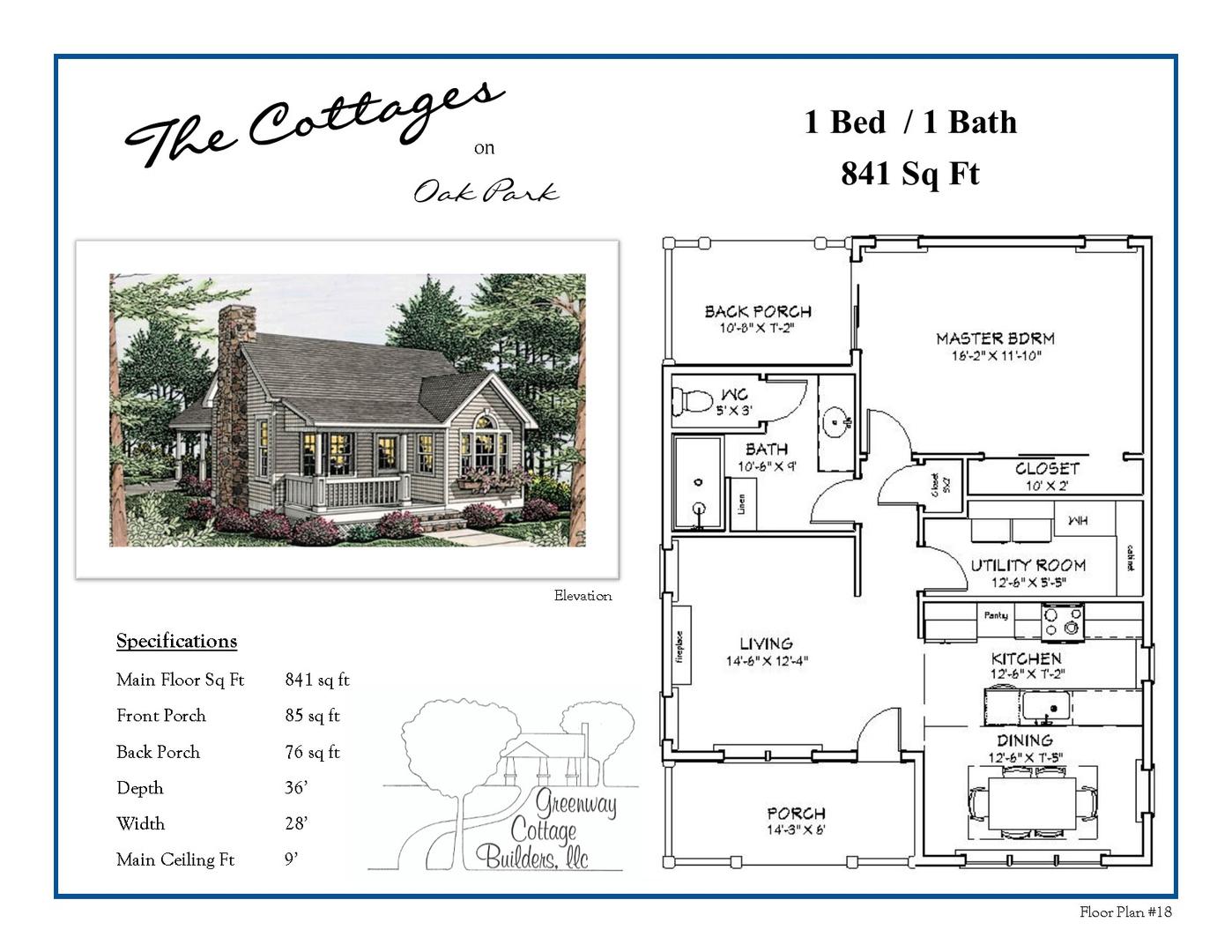 Floor Plans 1 2 Bedroom Cottages