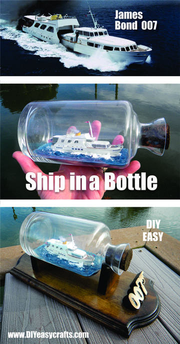 DIY Disco Volante Ship in a Bottle replica from the James Bond 007 movie Thunderball. Learn how easy it is to craft these little ships. www.DIYeasycarfts.com