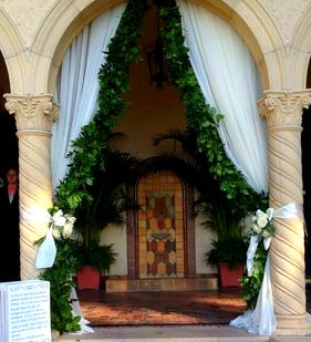 Add drapery to the loggia for your Crosley ceremony