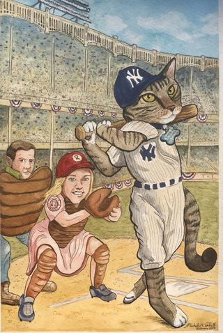 Pet Portrait Yankees Fan Cat Portrait
