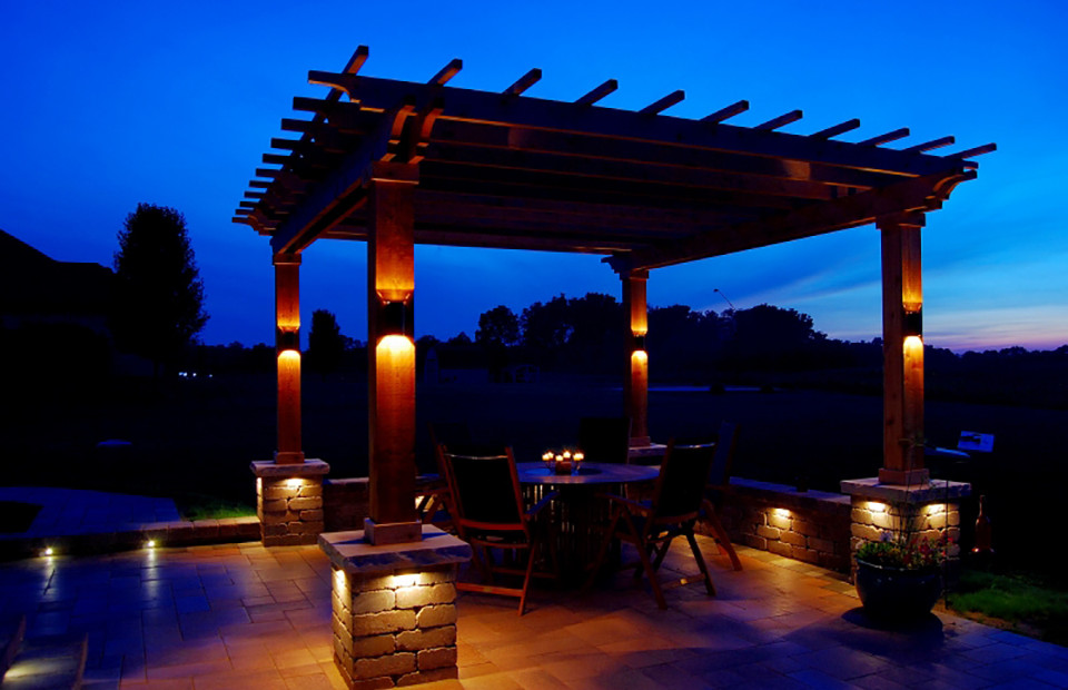 Professional landscape lighting design and installation accent lighting on patio lounge area aloadofball Images