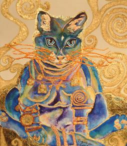 "Francesca Owens, Bohemiare, art with a social platform, Bohemiare art with a social platform, watercolor painting, watercolor, art, paintings, installation, traveling art exhibit, traveling museum exhibit, Spoleto Italy, Spoleto, umbria, gold leaf, buddha cat, klimt, ""my modigliani, launtrec & van gogh blues"","