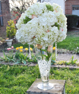 White Hydrangea Tall Trumpet Wedding Centerpiece