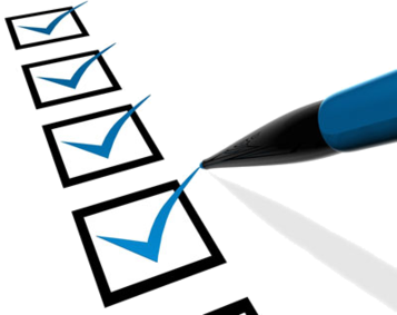 Graphic image of 4 check boxes checked off with blue check marks by a blue pen
