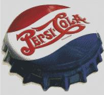 Cross Stitch Chart Pattern of Pepsi Cola Bottle Cap