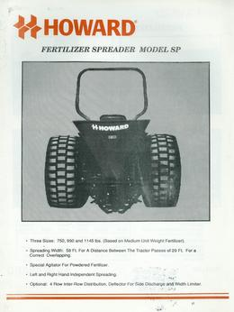 Howard Fertilizer Spreader Model SP Brochure