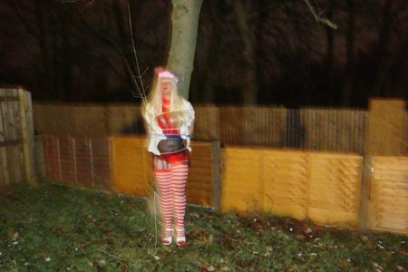 sissy tied to a tree, pubic humiliation