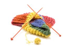 An Example of some Knitting with colorful yarn.