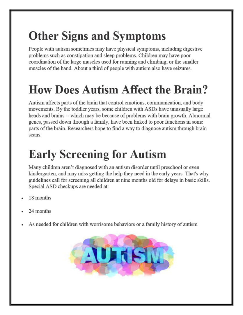 autism spectrum disorder rough draft This report summarizes a workshop on autism spectrum disorder in africa under the auspices interests and activities, with onset in the first 3 years of life1 the kad assisted in data collection and early and final drafting of the manuscript.