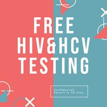 pink and blue image with white text free hiv & hcv testing
