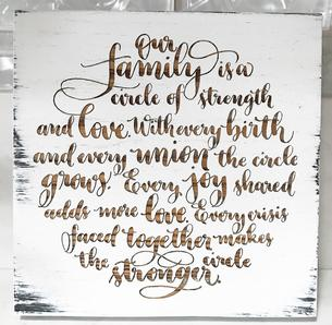 Order of events chalkboard written in modern calligraphy. Great way to show your guests the wedding schedule!