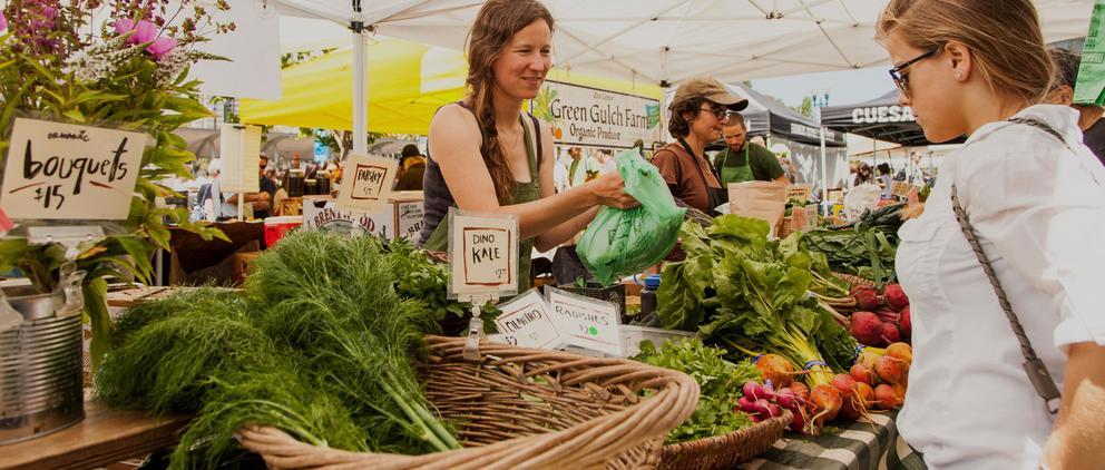 Millennials shopping at farmers market