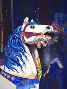 Carousel Horse, Limited Edition Gilcee Prints, Tracy Harris Watercolor Artist