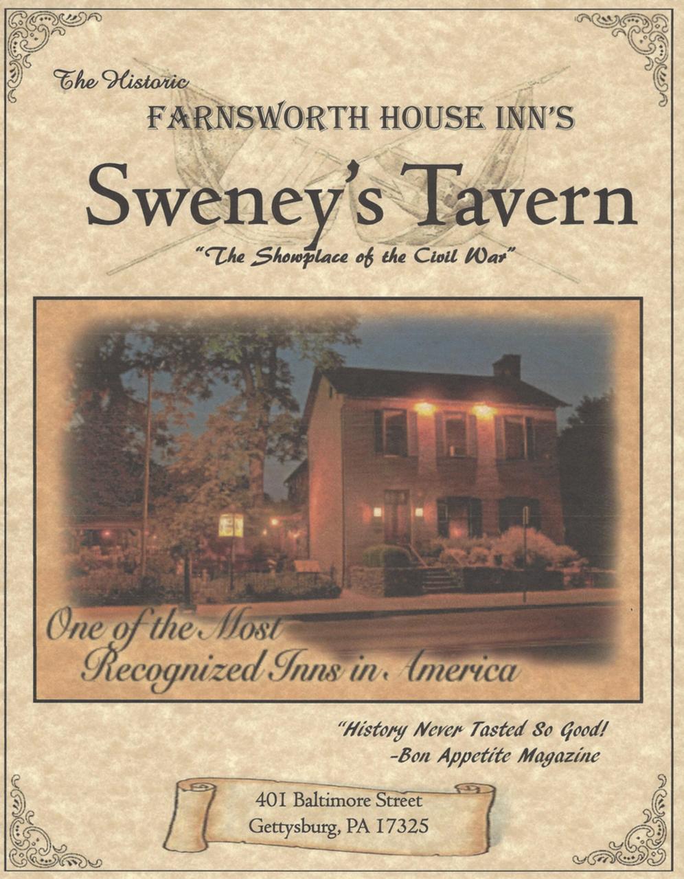 sweney's tavern menu