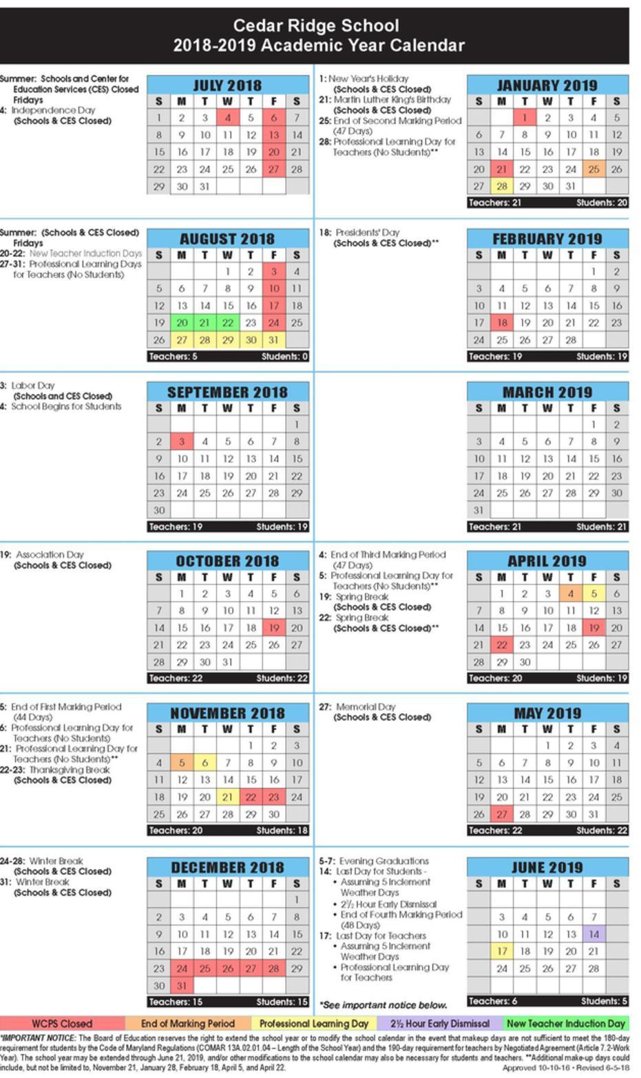 Calendar: Cedar Ridge School