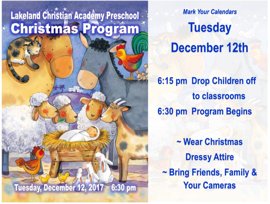 lca preschool christmas program 2017