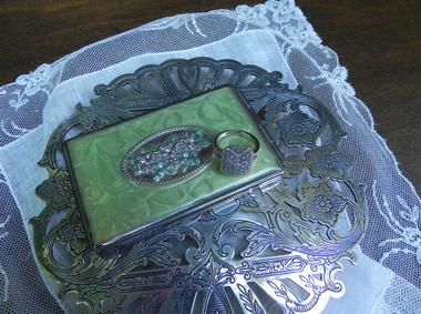 Silver Tray and Vintage Linen