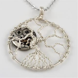 Sterling Silver Tree of Life with Watch Movement Pendant