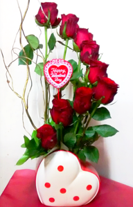 Red Rose Spiral Arrangement in Heart Shaped Vase