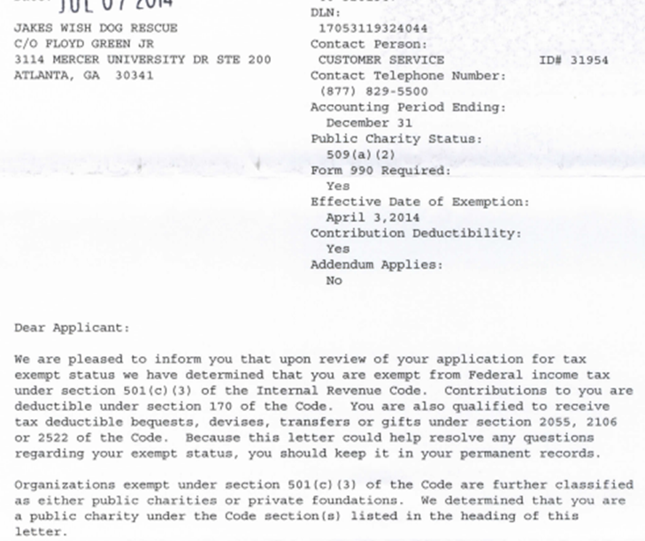 501c3 Irs Approval