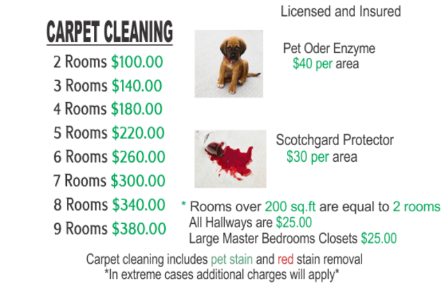 Green rhino carpet cleaning price list
