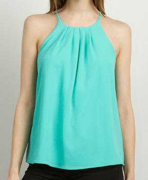 Mint Pleated Tank