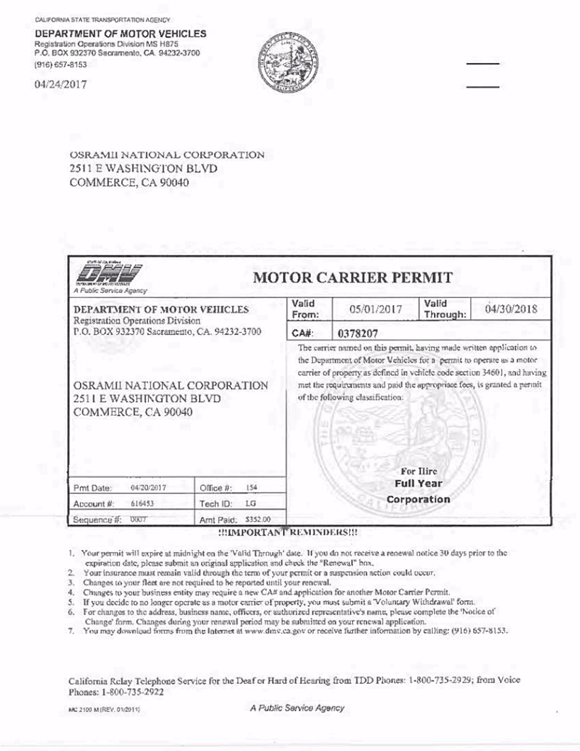 Ca motor carrier permit for Motor carrier identification number