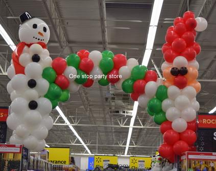 Snowman and Santa Claus Balloon Arch