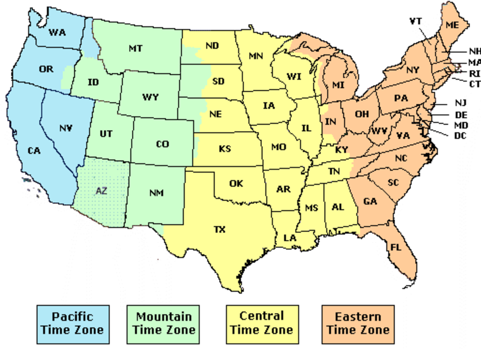 US Time Zones Current Time In USA Geography Blog US Maps Time - Us time zone map with times