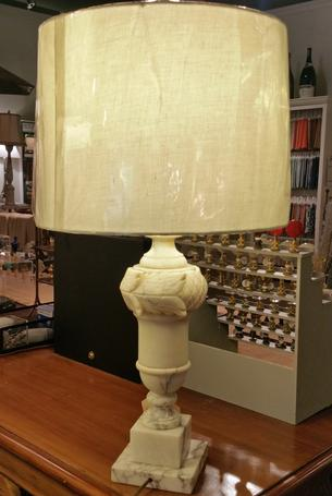 Alabaster Antique vintage table lamp with white silk shade