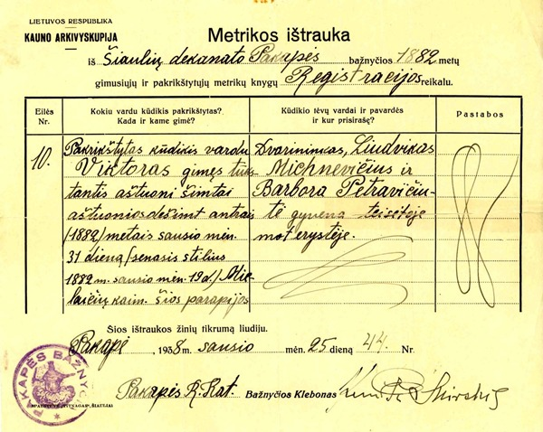 AncestorS Birth Certificate From Lithuania