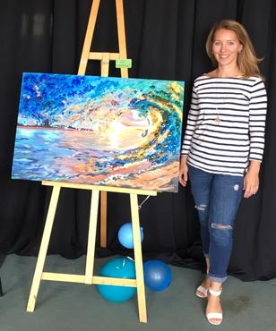 Treena Primmer at an art showing at Belcrest days, custom painting, Calgary artist, custom paintings, fused glass, art glass