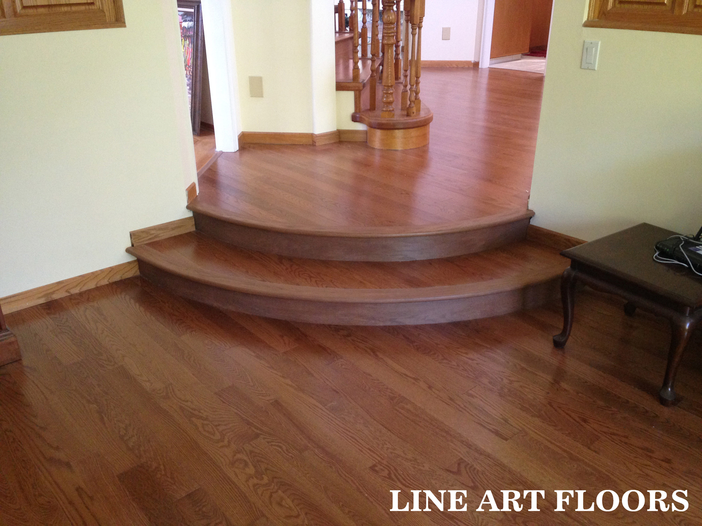 Line Art Floors : 180 degrees radius stair step finish vancouver west