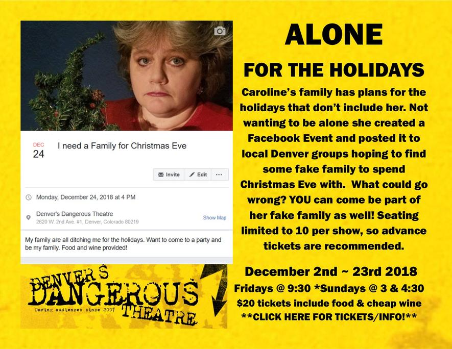 Dangerous Theatre ticketing link for Alone for the Holidays