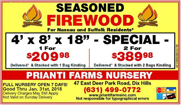 Firewood Delivery Special Seasoned Suffolk Long Island Prianti