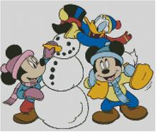 Cross Stitch Chart of Mickey Minnie and Donalds Snowman