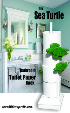 DIY Sea Turtle Paper Towel and Toilet Paper Rack. www.DIYeasycrafts.com