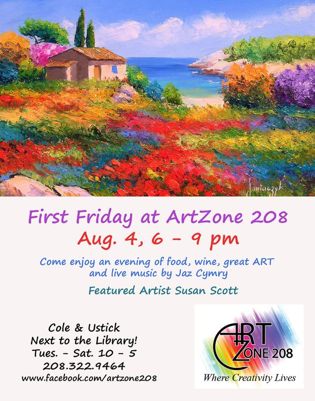 Come join us August 4, First Friday at ArtZone 208. Food, beverages, live music and featured artists Susan Scott.