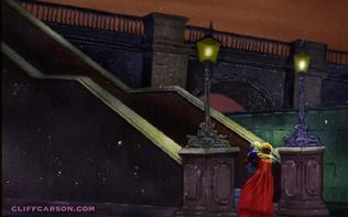 Shani Wallis and Mark Lester at LONDON BRIDGE in OLIVER! Illustration by Cliff Carson
