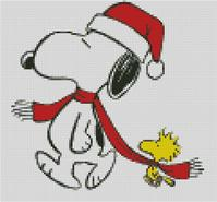 Cross Stitch Chart of Snoopy and Woodstock at Christmas Sharing the Scarf