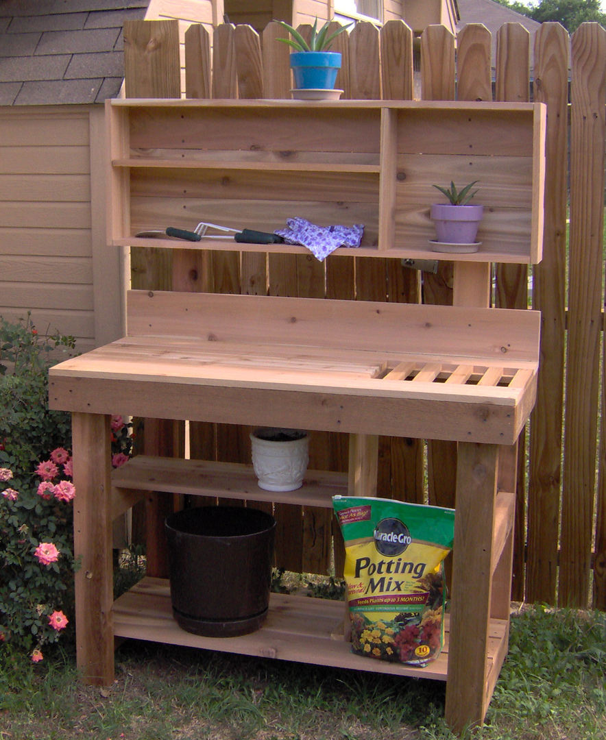cedar b garden n planters natural bench center modern depot the home potting with outdoors shelf