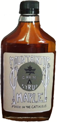 Flask bottle of Mountaintop Maple Grade A Syrup, Made in the Catskills